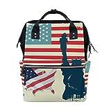 Mochila para pañales de bebé, diseño de bandera de Estados Unidos, ideal para viajes, escuela, universidad, al aire libre