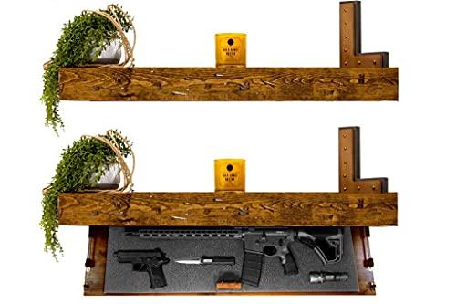 Tactical Traps Defender 45R Gun Shelf with Trap Door   Long-Barrel Gun, Rifle, Shotgun Storage with RFID Lock   Secure & Safe Hidden Gun Compartment   45' X 12' X 4' Country Pine