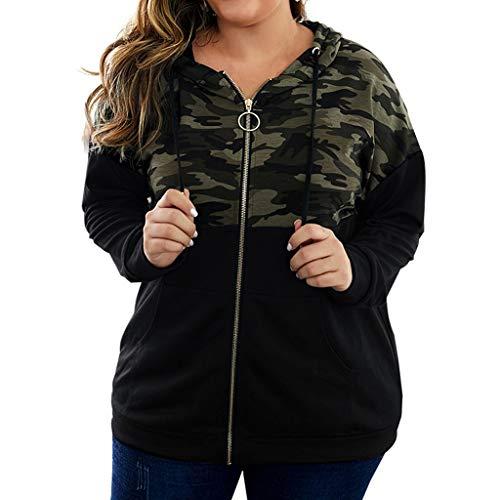 Lazapa Women Camouflage Stitching Cardigan, Long Sleeve Zipper Sweater, Fall Casual Hoodie Warm Cozy Outwear Match with Shorts, Leggings, Black Slacks, Denim Jeans