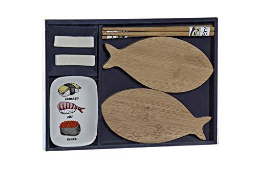 Juego de 8 piezas de sushi con platos de madera en forma de pescado