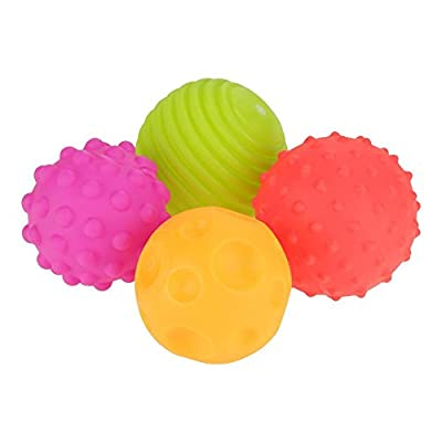 GLOGLOW 4PCS Sensor Ball Set Baby Textured Touch Hand Ball Toys Baby Grip Balls Squish Toys Colorful Melody Cognition Rubber Kids Early Learning Toys