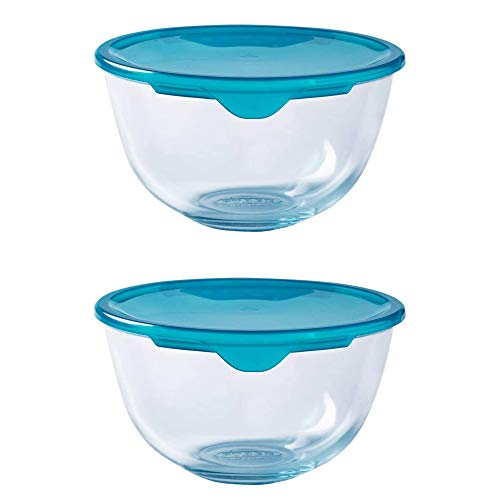 Pyrex Microwave Safe Classic Round Glass Dish Plastic Lid 1.0 Litre Blue (Pack of 2)