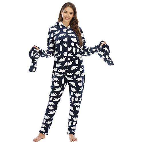 YuanDiann Mujer Pijamas Enteros con Pies, Impresión de Camuflaje Suave Cálido Franela Manga Larga Onesie Linda Una Pieza Cómodo Dormir Mono con Capucha Azul Real Oso Polar M