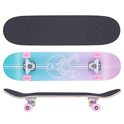 HBHHYRT Skateboard 31×8 Inch Skateboard Completo 7 Capas de Arce de Grado A,Patineta de Acrobacias Cóncavas de Doble Patada Rodamiento ABEC