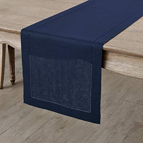 Solino Home 100% Pure Linen Hemstitch Table Runner - 14 x 108 Inch, Handcrafted from European Flax, Machine Washable Classic Hemstitch - Navy