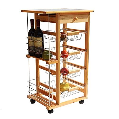 Carrito de almacenamiento de cocina de madera de 4 niveles, cesta de acero inoxidable y tapa de azulejos para el hogar