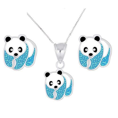 FIVE-D Set Collana con Ciondolo e Orecchini per Bambini, a Forma di Panda, in Argento Sterling 925 e Argento, Colore: Blu, cod. set163-V