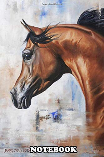 Notebook: This Portrait Of An Arabian Horse Is Created In Oil On , Journal for Writing, College Ruled Size 6