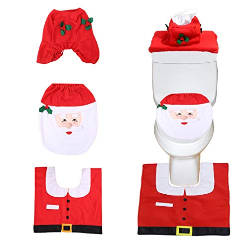 Flying Spoon Christmas Toilet Cover Happy Santa Toilet Seat Cover with A Toilet Seat Lifter for Christmas Bathroom Decorations