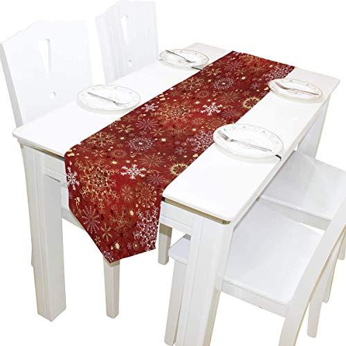 MODORSAN Table Runner 13'x90' Christmas Snowflake Pattern Decorative Table Runners Table Cloth for Home Coffee Kitchen Dining Table Party Banquet Holiday Decoration