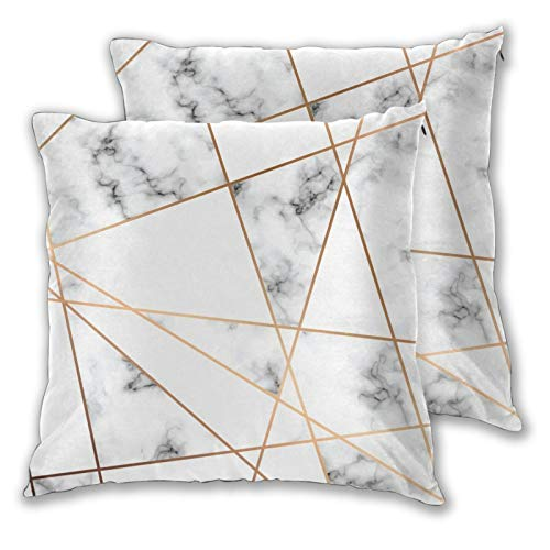 Juego de 2 fundas de almohada cuadradas, fundas de cojín decorativas de mármol de oro rosa, para dormitorio, sofá, sala de estar, 45,7 x 45,7 cm