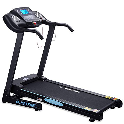MaxKare Electric Folding Treadmill Auto Incline Running Machine 2.5HP Power 8.5MHP Speed 12-Level Incline Adjustment with Pre-Set Training Programs Large LCD Display Cup Holder for Home Use by MaxKare