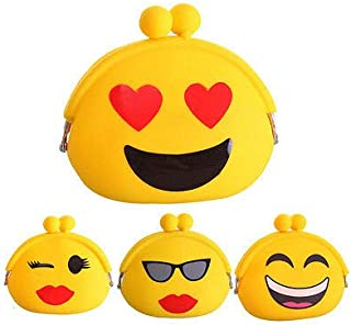 Cute Emoji (Random 2pc) Small Coin Purse Pouch for Earphone Earphones Coin Coins Credit Debit Card Money Cash Jewellery Memory Card Pouch case Wallet Purse Gift Gifts for Girls Womens