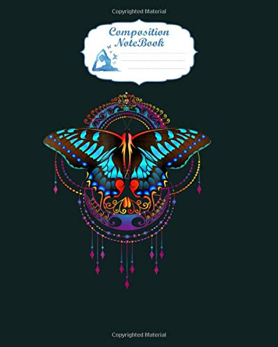 Notebook: magic butterfly colorful mandala 1 yoga tee - for men woman Journal/Notebook Blank Lined Ruled 100 pages 8x10 inches