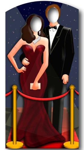 Cartón recorte de pareja en la alfombra roja