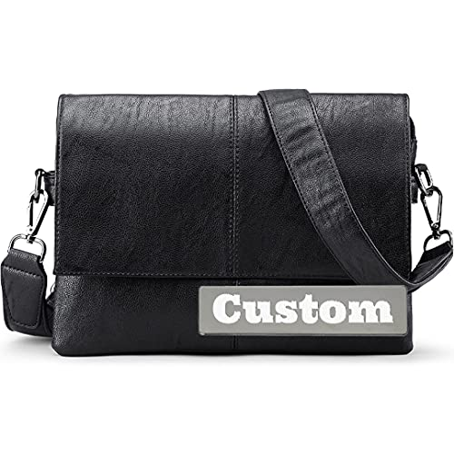 FireH Nombre Personalizado Personalizado Set sobre Shoulder Messenger Bag Travel Messenger Crossber Crossbody para Hombres de Cuero (Color : Black, Size : One Size)