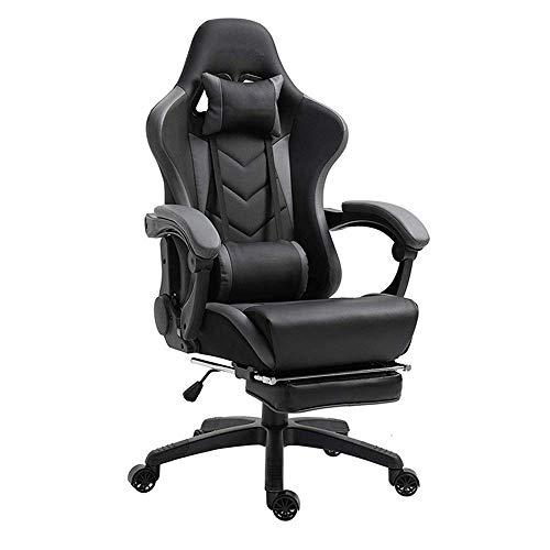 ZXL Videospielstuhl, Mit Fußstütze, Pu-Ledersessel, Drehbarem Leder-Pc-Stuhl Und Drehbarem Bürostuhl, Lordosenstütze, Schwarz,Schwarz