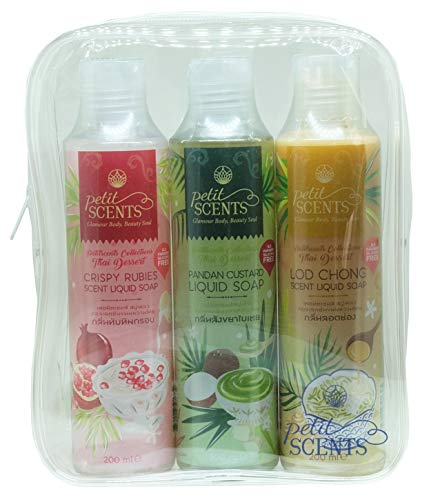 Petitscents Variety Pack of Body Cleansing Shower Gel Made With Natural ingredients, Pampering Thai Coconut Oil Moisturizing & Invigorating Best Body Washes for Women - 200 ML | 6.8 FL.Oz (Pack of 3)