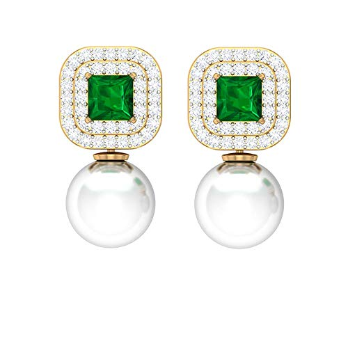 Rosec Jewels 10 quilates oro amarillo talla princesa redonda round-brilliant-shape H-I Green White Diamond Emerald Pearl