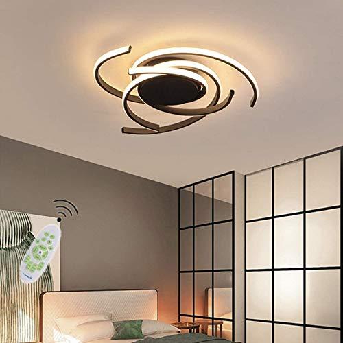 LED Dimmable Plafonnier Moderne Luminaire, Avec Télécommande Lampe De Cuisine Créative Spirale Fleur Design Aluminium Acrylique Plafond Lustre, Salon Chambre Lampe,Noir,75cm