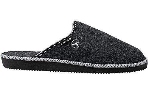 ESTRO Zapatillas De Casa Hombre Zapatillas Fieltro Pantuflas Casa Hombre F14 (44 EU, Negro)