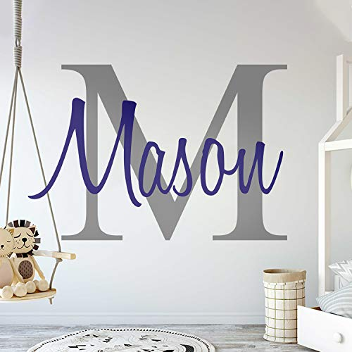 """Custom Name & Initial - Premium Series - Baby Boy - Wall Decal Nursery for Home Bedroom Children (M511) (Wide 22"""" x 15"""" Height)"""
