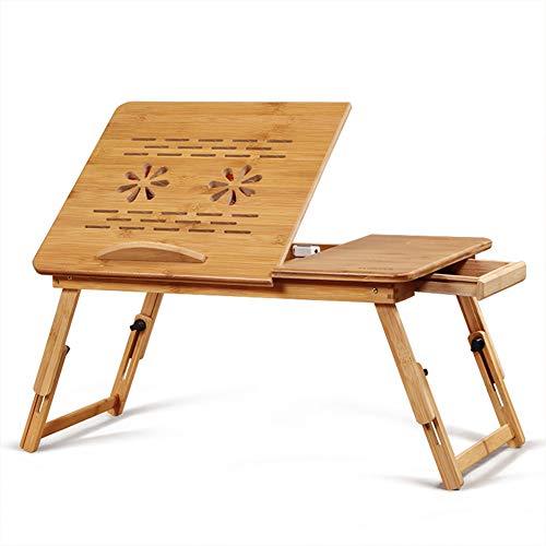 Cleave Waves Opvouwbare laptoptafel van bamboe, laptopstandaard verstelbare notebooktafel Opvouwbare bureau-bedkast met lade