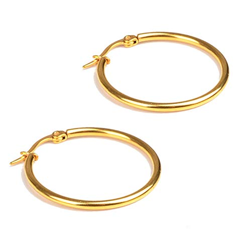 KnSam Stainless Steel Jewelry, Hoop Earrings, Comfort Fit Circle Gold 50Mm