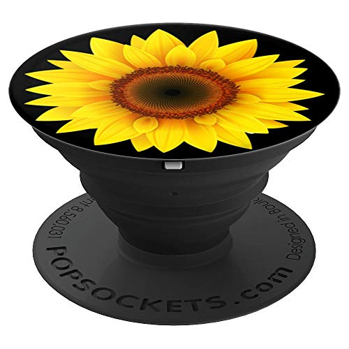 Sunflower Decor Girasol yellow Sun Flower Black Background - PopSockets Grip and Stand for Phones and Tablets