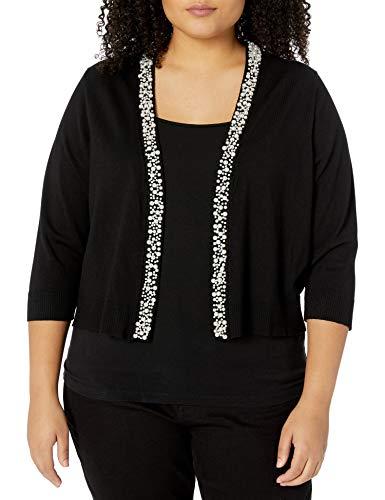 Calvin Klein Women's Plus Size Shrug with Pearl Detail, Black, 3X