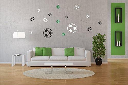Ball Bälle 15er Set - Fussball - Vereinsfarben (schwarz-weiß-grün) Wandtattoo Aufkleber
