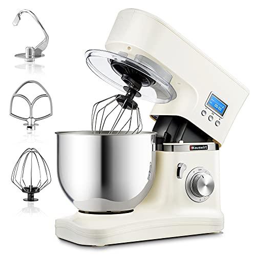 Robot da Cucina, Hauswirt Impastatrice Planetaria Multifunzione, Schermo LCD, 8 Velocità con Impulso, Tira Pasta, Tritacarne, Frullatore, 5 L Ciotola in Acciaio Inox, con Paraspruzzi, Latteo