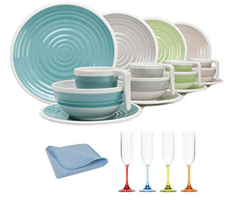 Moritz - Juego de vajilla de melamina para 4 personas, diseño de armonía + 4 vasos Prosecco + 1 paño de microfibra azul para camping