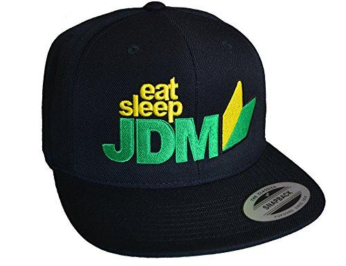 Baddery Petrolhead Industries: Eat Sleep JDM - Cap für alle Tuning-, Drift-, und Motorsport Fans - Classic Snapback von Flexfit (One Size)