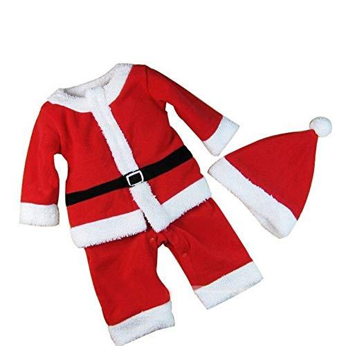 Daity Weihnachtsmannkostüm für Kinder Mädchen und Jungen Nikolaus Outfit Kostüm Baby Weihnachtsmannanzug Hut + Mantel + Hose (110cm, Jungen)