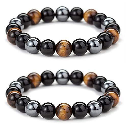 Triple Protection Bracelet for Bring Luck and Prosperity Hematite Black Obsidian Tiger Eye Stone Bracelets for Men Women, Beaded Buddha Healing Rope Uni Bracelet (2pcs)