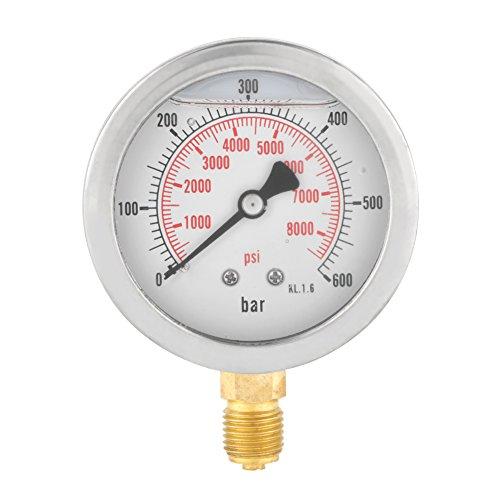"""63mm Analog Gasdruckanzeige 0-600Bar 0-8500Psi für Wasser Luft Öl Dial Instrument Basis Eintrag G 1/4\"""""""