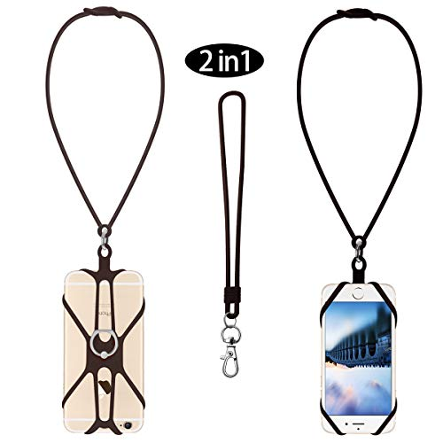 Cell Phone Lanyard Neck Strap 2-in-1 Silicone Retractable universary Phone Lanyard case Compatible with 4-6.5 inches Phone with Ring Holder (Black)