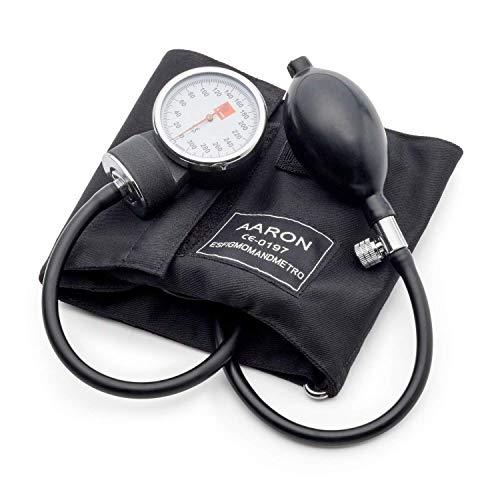 Tensiómetro aneroide AARON® | brazalete ajustable. Kit profesional para la medición de tensión arterial. Esfigmomanómetro aneroide.