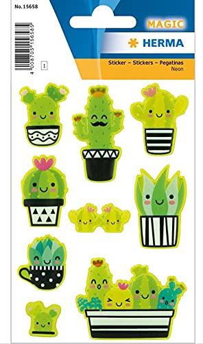 HERMA 15658 Happy Cactus - Pegatinas de neón de plástico permanente, 1 hoja/9 pegatinas