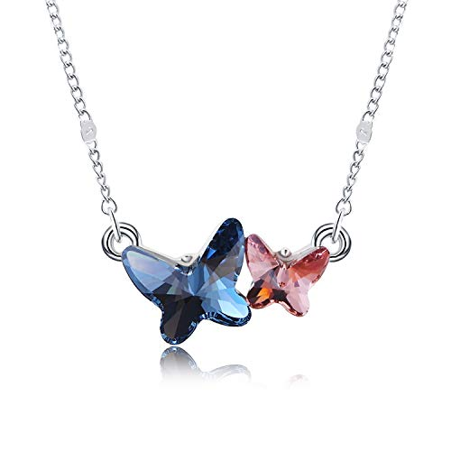 Herlina, elegante collana con ciondolo a forma di farfalla, per ragazze e donne, realizzata con cristalli Swarovski, catenina da 45,7 cm