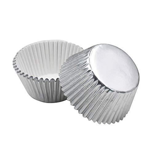 Rosenice Papel de aluminio desechable, tazas para hornear moldes, moldes de papel de aluminio desechables, plata