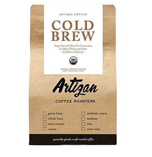 Cold Brew - 100% USDA Organic Fairtrade Non-GMO Kosher - Medium Dark Roast - Silky Smooth - Low Acidity - 12 oz (Extra Coarse / Cold Brew Grind)