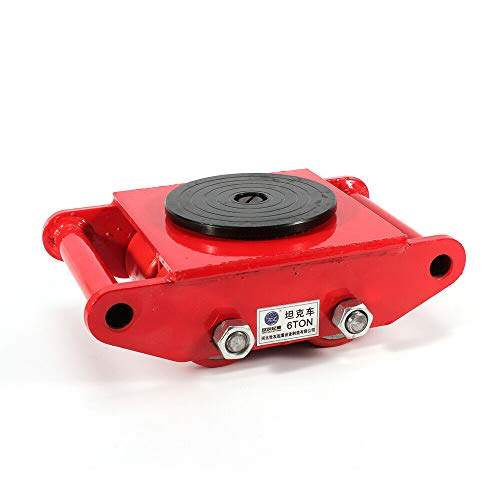 Heavy Duty Machine Dolly Skate, Industrial Machinery Rotation Cap Roller Mover, Cargo Trolley 6T/13200lb Capacity (red)