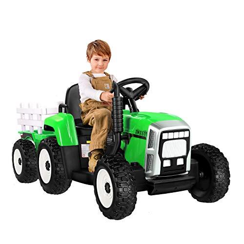 METAKOO Tractor Eléctrico con Remolque, Tractor de Batería 12V 7Ah, Motores de 35W y Rueda EVA, Control Remoto, 2+1 Cambio de Marchas, Bocina, Bluetooth, USB, Reproductor de MP3, Faros de 7 LED-Verde
