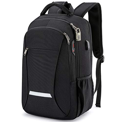 Firwood Laptop Bag for Men Waterproof Laptop Backpack Anti Theft Travel Work Computer Rucksack Usb Backpack Business Gifts 15.6 Inch Black