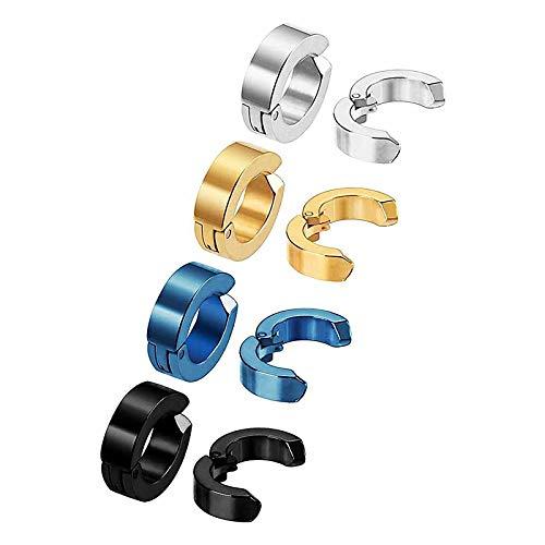 MEENAZ Mens jewellery Valentine Multicolor Blue Gold Silver Black Non Piercing Clip on Bali Stud Ear rings set Earing Press Magnetic Hoop Earrings Combo for men boys boyfriend MENS EARRINGS COMBO-M25