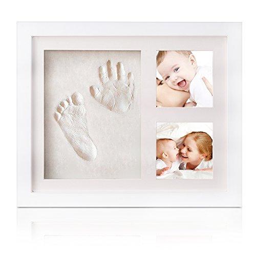 INNOCHEER Baby Bilderrahmen für Handabdruck- und Fussabdruck, Echtholz Babyrahmen mit sicherem Acrylglas und keine giftigen, sicheren Abdruckmasse