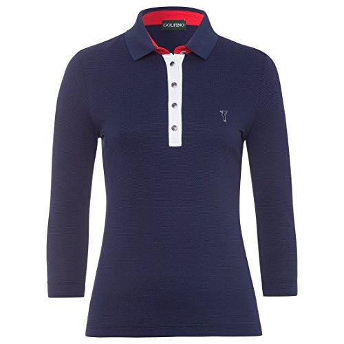 Golfino Damen Polo mit 3/4-Ärmeln Größe 40 (ML) Blau
