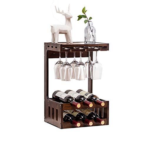 LMZX Soporte para Botellas de Vino de Montaje en Pared y Copa de champán Juntos; exhibición Independientes del Tenedor del Vino de la construcción Robusta para la Barra del sótano de la despensa